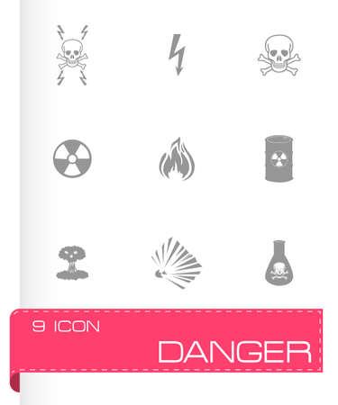 explosion hazard: Vector black danger icons set on white background Illustration