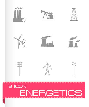 electrical engineer: Vector black energeticsl icons set on white background