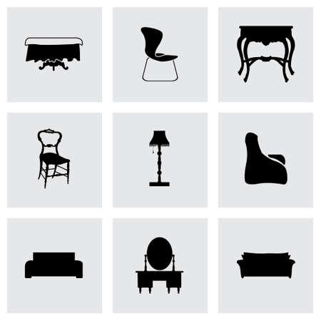 book case: Vector furniture icons set on grey background Illustration
