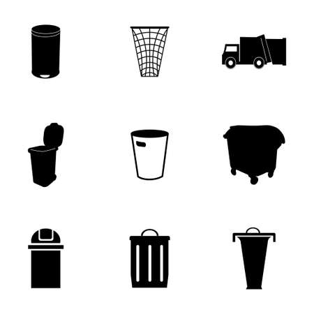 glob: Vector garbage icons set on white background