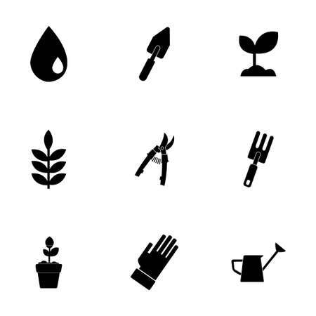 gardening hoses: Vector black gardening icons set on white background