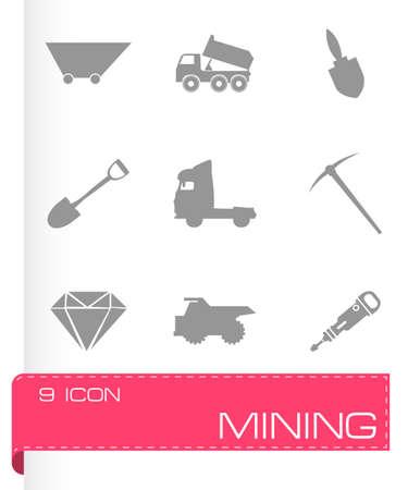 Vector mining icons set on grey background