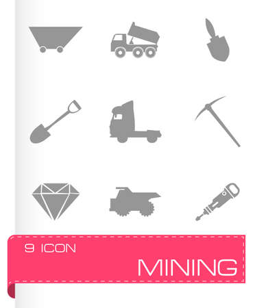 fire pit: Vector mining icons set on grey background