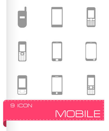 cell phone transmitter tower: Vector mobile icons set on white background