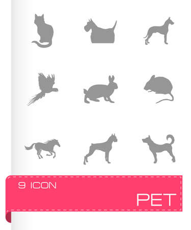 Vector pet icons set on grey background Vector