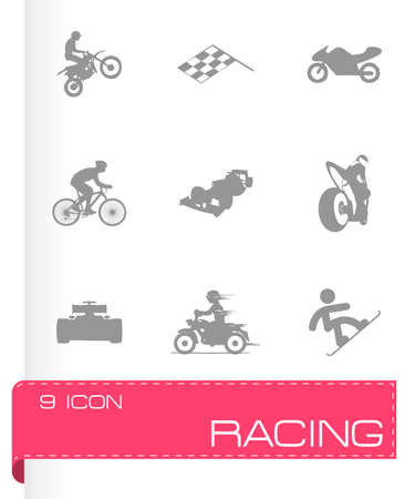 checked flag: Vector racing icons set on grey background