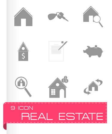 Vector real estate icons set on grey background Vector