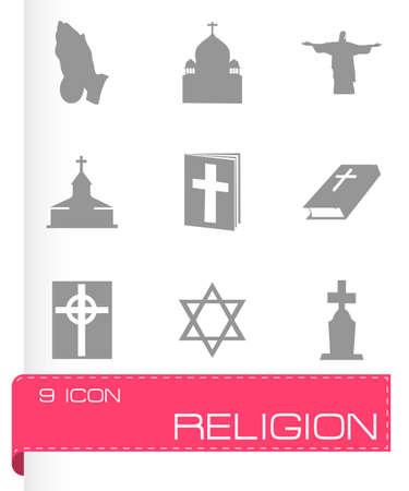 triskel: Vector religion icons set on grey background