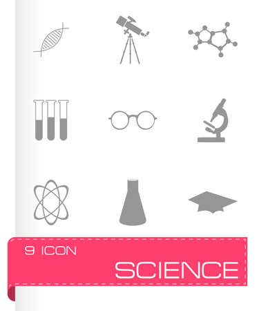 bunsen burner: Vector science icons set on grey background