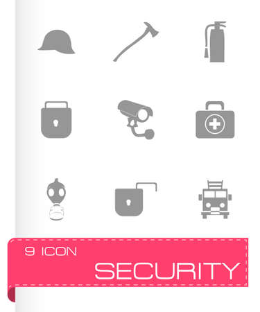 retina scan: Vector security icons set on grey background Illustration