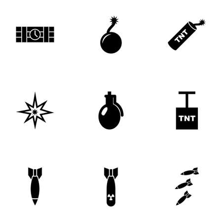 hijack: bomb icon set on white background