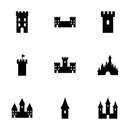 castle icon set on white background Иллюстрация