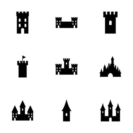 castle icon set on white background Illustration