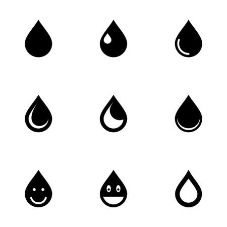 Vector drop icon set on white background