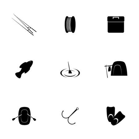 soldier fish: Vector fishing icon set on white background