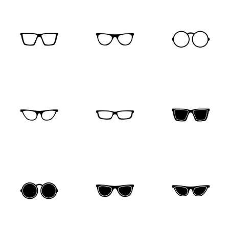 wayfarer: glasses icon set on white background