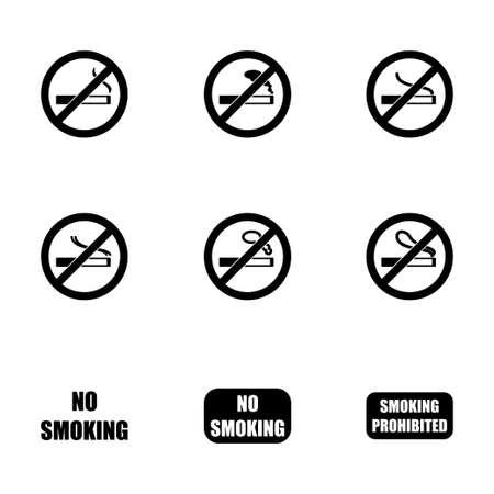 pernicious habit: no smoking icon set on white background Illustration