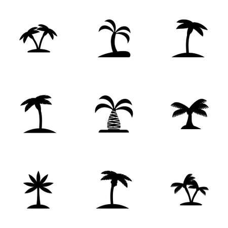 palm icon set on white background Иллюстрация
