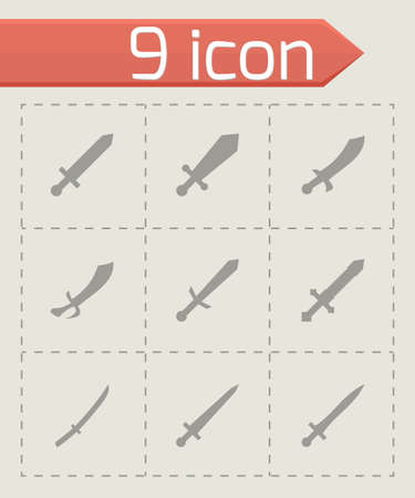 iron defense: sword icon set on grey background Illustration