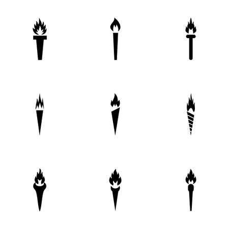 torch icon set on white background Vector