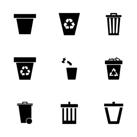 cleaning earth: Vector trash can icon set on white background