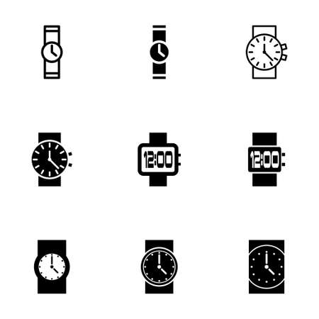 wristwatch icon set on white background Vector