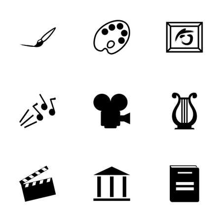 black art icons set on white background