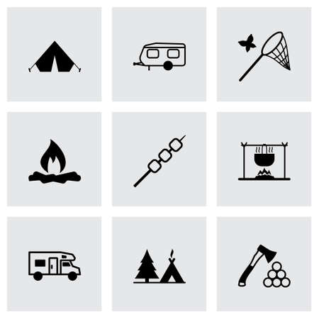 camping: Vector black camping icons set on grey background