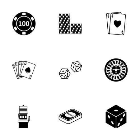 black casino icons set on white background