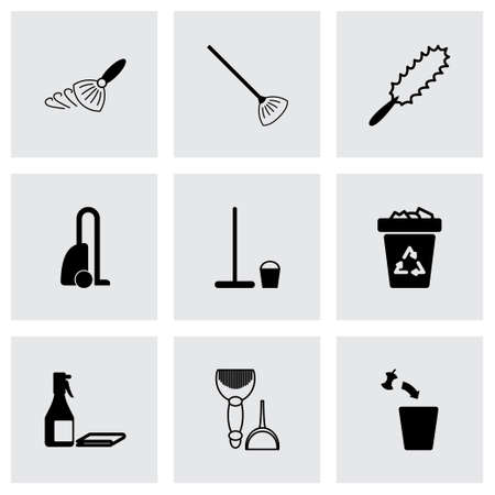 black cleaning icons set on grey background