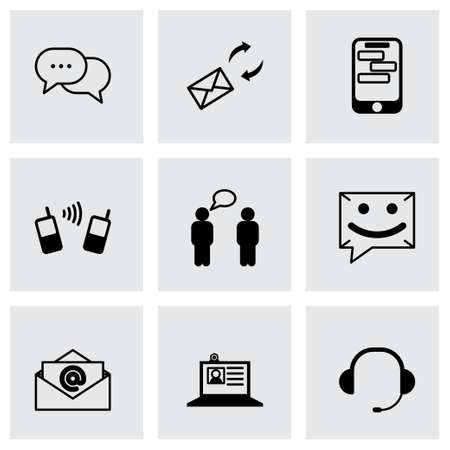 communication icons: black communication icons set on grey background