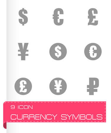 renminbi: black currency symbols icons set on white background Illustration