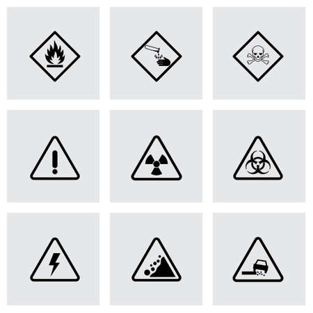 chemical hazard: black danger icons set on grey background