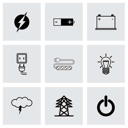 multimeter: black electricity icons set on grey background