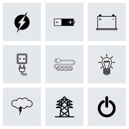 black electricity icons set on grey background