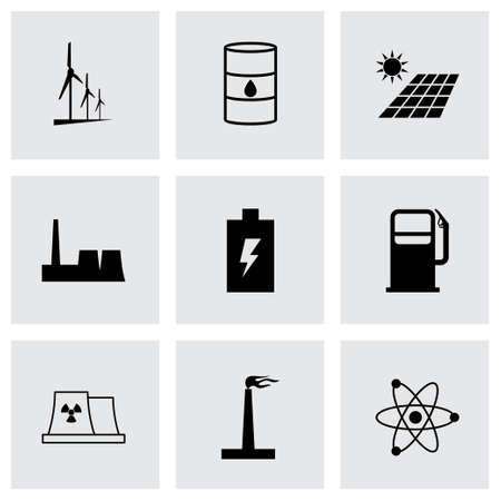 electricity meter: Vector black energetics icons set on grey background Illustration