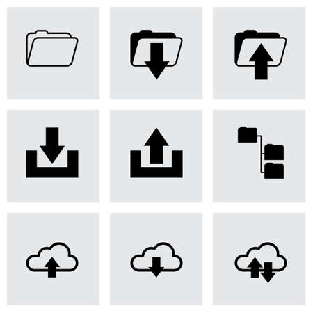 ftp: black ftp icons set on grey background