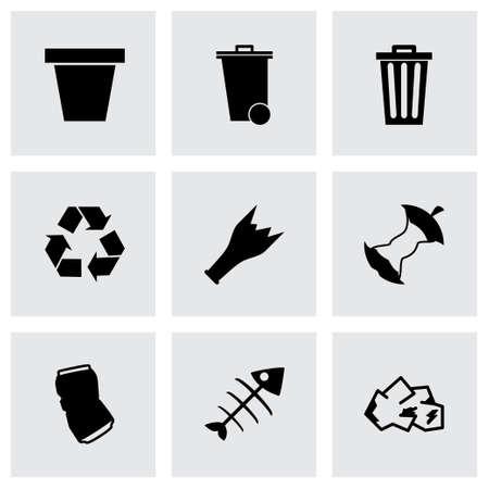 black garbage icons set on grey background Vector