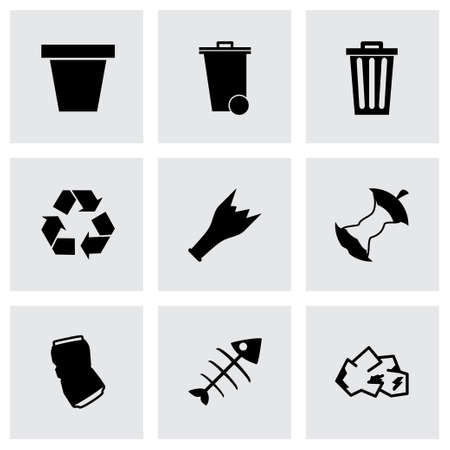 black garbage icons set on grey background Illustration