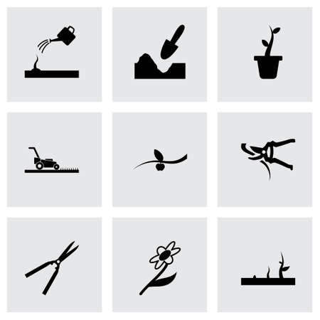 gardening hoses: black gardening icons set on grey background