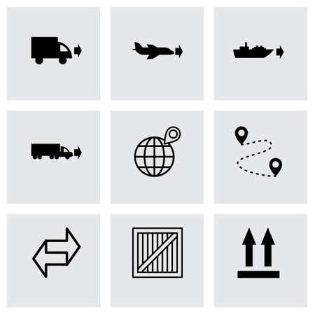 shipment tracking: black logistic icons set on grey background Illustration