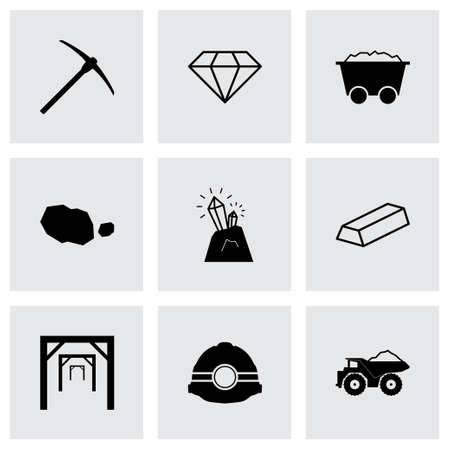 mining truck: black mining icons set on grey background
