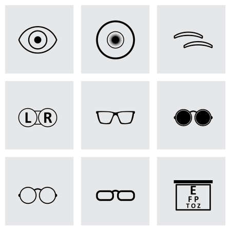 Vector black optometry icons set on grey background Illustration