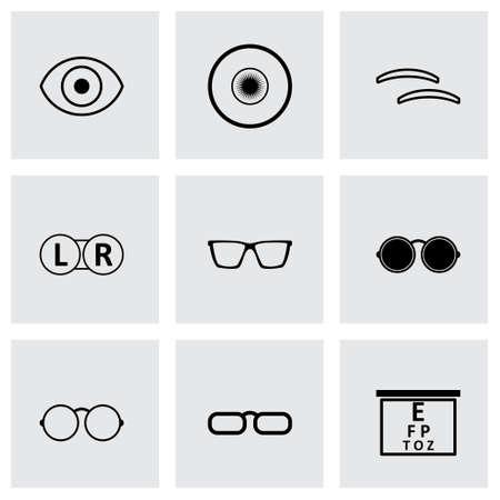 optometry: Vector black optometry icons set on grey background Illustration
