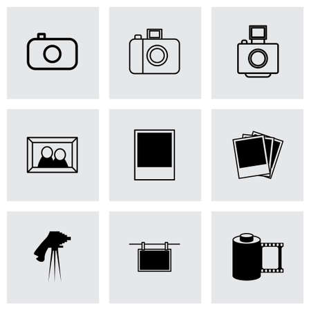 photo icons: black photo icons set on grey background Illustration