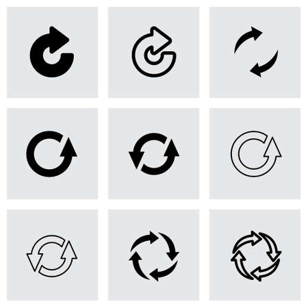 Vector black refresh icon set on grey background