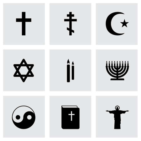 religious symbols: Vector black religion icons set on grey background Illustration