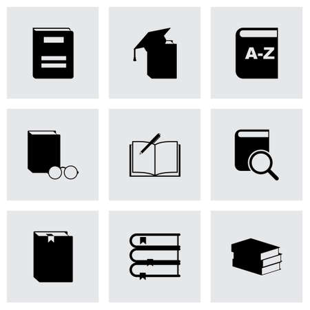 schoolbook: black schoolbook icon set on grey background Illustration