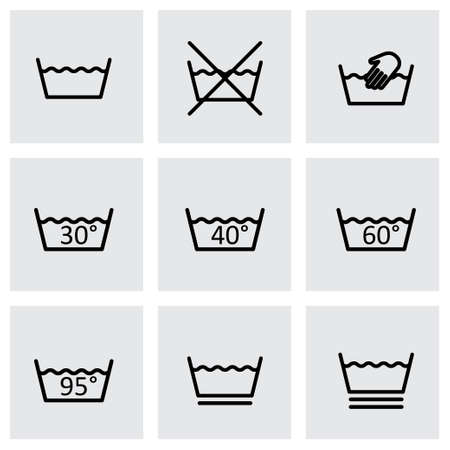 laundry care symbol: black washing signs icon set on grey background Illustration