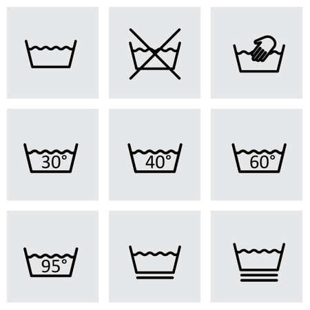 zwarte wassen tekenen icon set op een grijze achtergrond